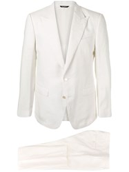Dolce And Gabbana Two Button Suit White