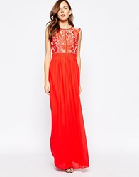 Little Mistress Maxi Dress With Burn Out Top Red Pink