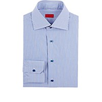 Isaia Men's Striped Poplin Shirt Navy