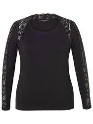 Chesca Lace Trim Long Sleeve T Shirt Black