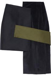 Jacquemus Asymmetric Felted Wool And Corduroy Mini Skirt