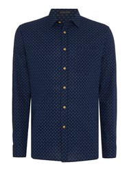 Howick Men's Sullivan Print Long Sleeved Shirt Navy