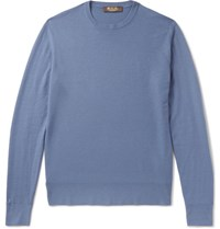 Loro Piana Slim Fit Baby Cashmere Sweater Blue
