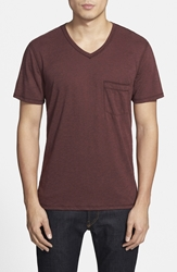 7 For All Mankind Raw Edge V Neck T Shirt Heather Port