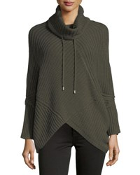 Neiman Marcus Knit Long Sleeve Poncho Green