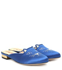 Charlotte Olympia Kitty Satin Slippers Blue