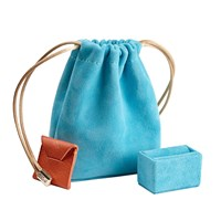 Stow Luxury Suede Jewellery Pouch And Removable Ring Cushion Aquamarine And Gold Blue