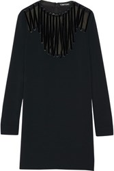 Tom Ford Velvet Trimmed Lace Up Stretch Cady Mini Dress Black