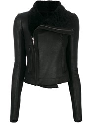 Rick Owens Classic Biker Jacket Women Leather Polyester Cupro Cashmere 42 Black