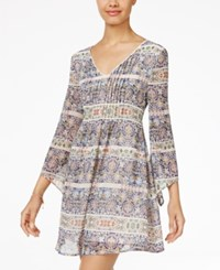 American Rag Printed Pintucked Fit And Flare Dress Only At Macy's Light Blue Multi