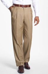 Men's Santorelli 'Luxury Serge' Double Pleated Wool Trousers Tan