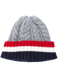Thom Browne Cable Knit Stripe Panel Beanie Women Cashmere One Size Grey