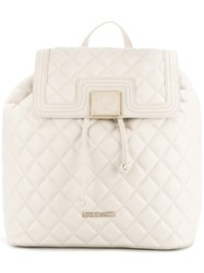 Love Moschino Fold Over Quilted Backpack Nude Neutrals