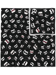 Karl Lagerfeld K Ikonik Faces Scarf Black