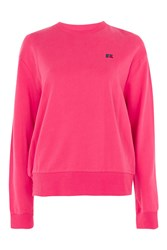 Topshop Signature Logo Crew Neck T Shirt By Russell Athletic Pink