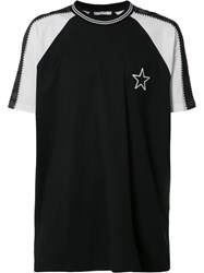 Givenchy Star Patch Paneled Sleeve T Shirt Black