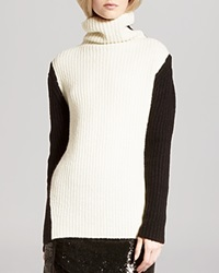 Halston Heritage Sweater Turtleneck Color Block Chalk Black