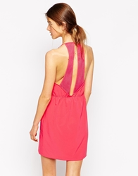See U Soon Skater Dress With Open Back Mesh Detail Pink