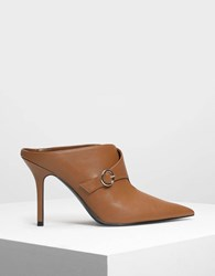 Charles And Keith Buckled Wrap Detail Mules Cognac
