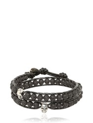 Colana Steel Skull And Lava Beads Bracelet