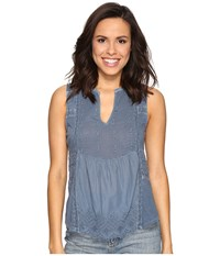 Lucky Brand Washed Woven Mix Tank Top Moonlight Ocean Women's Clothing Blue