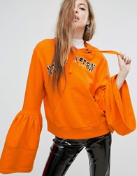 Asos Hoodie With Frill Sleeve And Spliced Print Orange