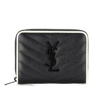 Saint Laurent Monogram Compact Zip Around Leather Wallet Black