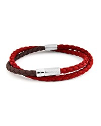 Ermenegildo Zegna Duo Braided Leather Silver Wrap Bracelet Red Brown Red Brown