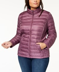 32 Degrees Plus Size Packable Down Coat Tangled Plum