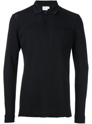 Sunspel 'L S Riviera' Polo Shirt Black