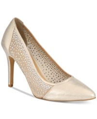 Thalia Sodi Natalia Mesh Pointed Toe Floral Pumps Only At Macy's Women's Shoes Gold