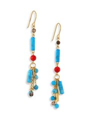 Stephanie Kantis Semi Precious Multi Stone Drop Earrings Gold Turquoise