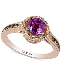 Le Vian Chocolatier Amethyst 3 4 Ct. T.W. And Diamond 3 8 Ct. T.W. Ring In 14K Rose Gold