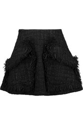 Goen J Fringed Tweed Mini Skirt Black