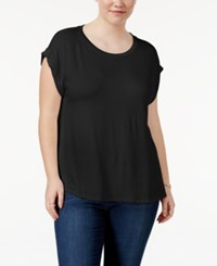 Celebrity Pink Trendy Plus Size Cuffed T Shirt Black