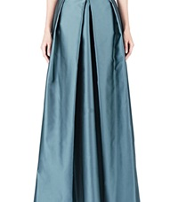 Yang Li Long Structured Satin Skirt Teal