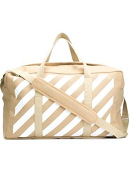 Off White Striped Tote Brown