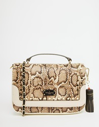 Pauls Boutique Studded Cross Body Bag In Faux Snake Snakebeige