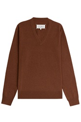 Maison Martin Margiela Maison Margiela Wool Pullover With Leather Elbow Patches Brown
