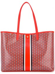 Tory Burch Large Chain Print Tote Bag Red