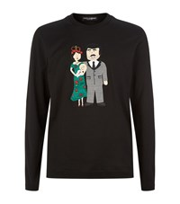 Dolce And Gabbana Family Applique Dot Long Sleeve Top Male Black