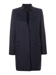 Label Lab Stand Collar Single Breasted Coat Navy