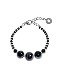 Antica Murrina Veneziana Optical 2 Rigido Silver Stainless Steel Bracelet W Black Murano Glass Beads
