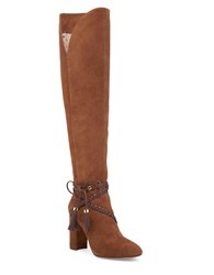 Louise Et Cie Tallen Braid Wrapped Leather And Suede Boots Bourbon
