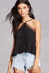Forever 21 Shirred Lace Halter Top