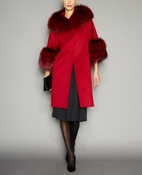 The Fur Vault Fox Trim Wool Walker Coat Currant