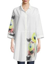 Go Silk Placed Floral Detail Blouse Plus Size White