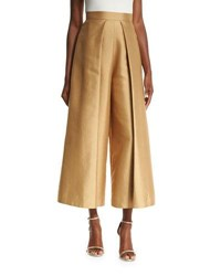Solace London Aria Cropped Satin Twill Wide Leg Trousers Tan