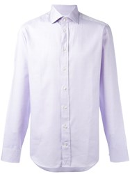 Armani Collezioni Woven Cotton Shirt Pink Purple