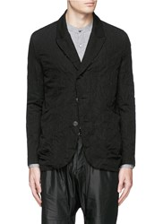 Attachment Dobby Stripe Crinkle Cotton Wool Linen Blazer Black